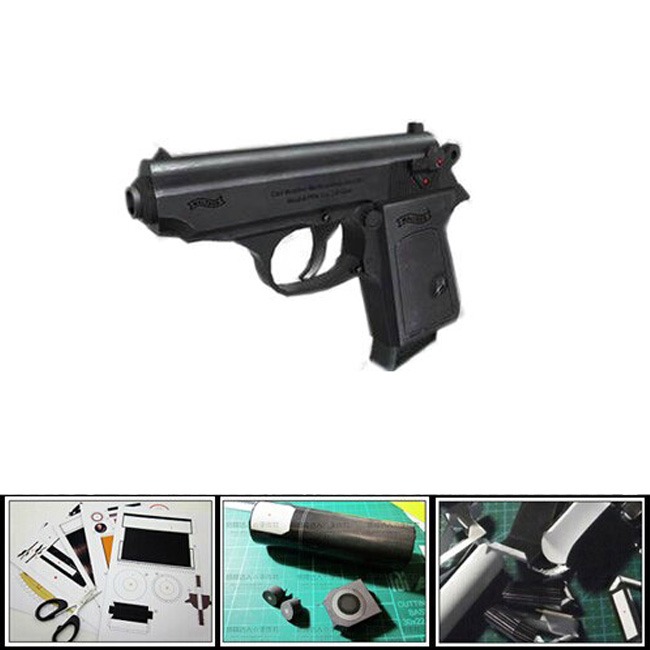 2016 New 3D Paper Model PPK 007 Pistol 1:1 scale simulate gun waterproof magazine adult diy puzzles toys collection papercraft(China (Mainland))