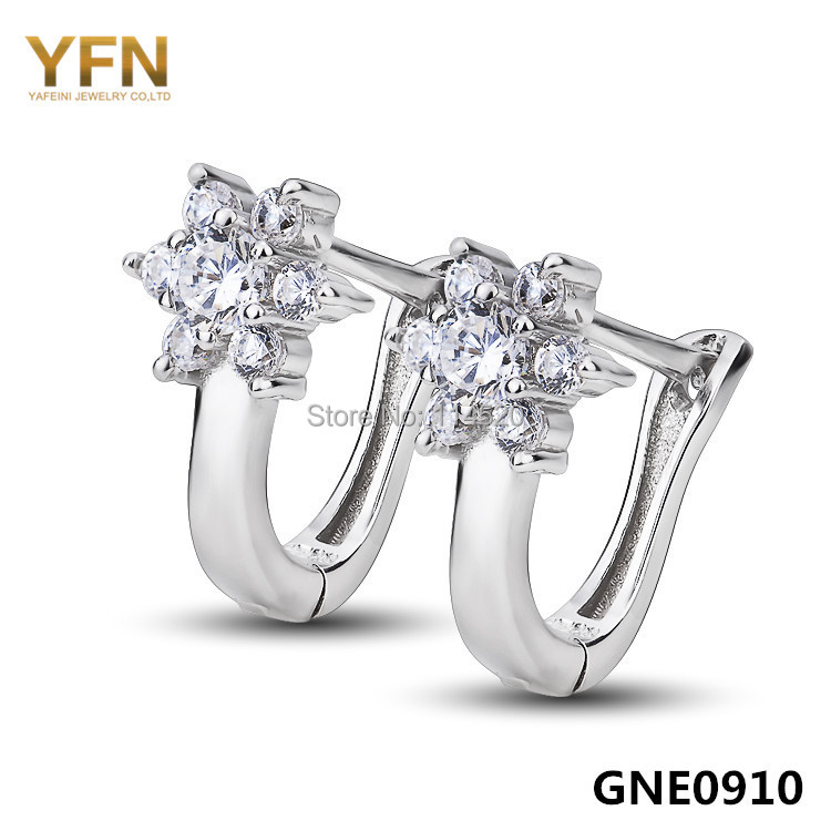 GNE0910 Genuine 925 Sterling Silver Jewelry Cubic Zircon Earrings 8.5*14mm For Women Fashion Small Hoop Earrings Holiday Sale(China (Mainland))