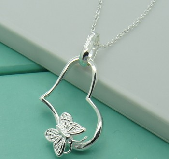 Free shipping.925 silver wholesale.Women necklace. 925 silver ornament. Factory direct sales. butterfly pendant necklace.1pcs