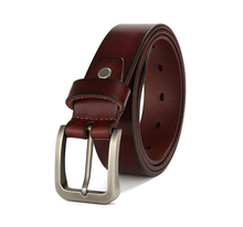 Buy Full Grain Genuine Leather Pin Buckle Belt 100% Cowskin Fashion Belt First Layer Leather Adjustable Straps Brown for $14.26 in AliExpress store