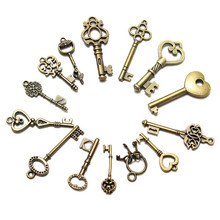 New Arrival 14Pcs/Set Antique Vintage old Style Skeleton Keys Ornament Jewelry Shape Handmade Pendants Popular Lover Gift(China (Mainland))