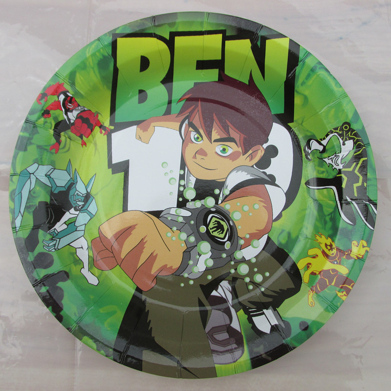 Ben 10 theme child kids birthday party paper plate,7inch printing round plates*50pcs(China (Mainland))