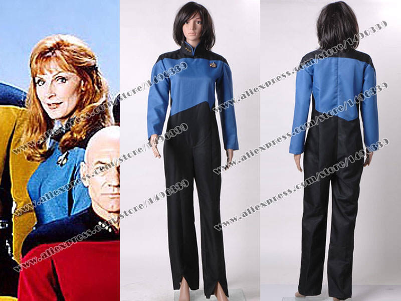 Star Trek The Next Generation Cosplay Costume Blue Jumpsuit Female Clothing Fast Shipping(China (Mainland))