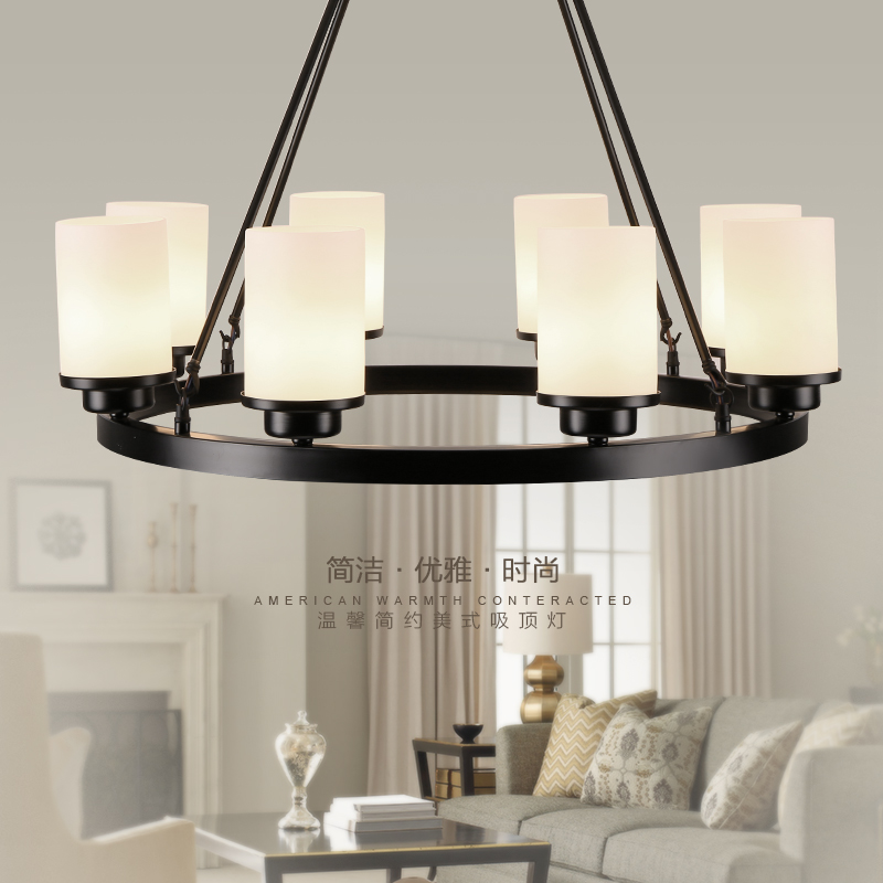 American Country Iron Glass Black White LED Round Pendant Light For Foyer Study Bedroom Dinning Room Hallway Entryway Corridor(China (Mainland))