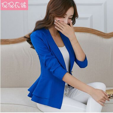 2015 Fashion Hot New women blazers and jackets long-sleeve slim blazer ruffle short blazer design candy color Outerwear & Coats(China (Mainland))