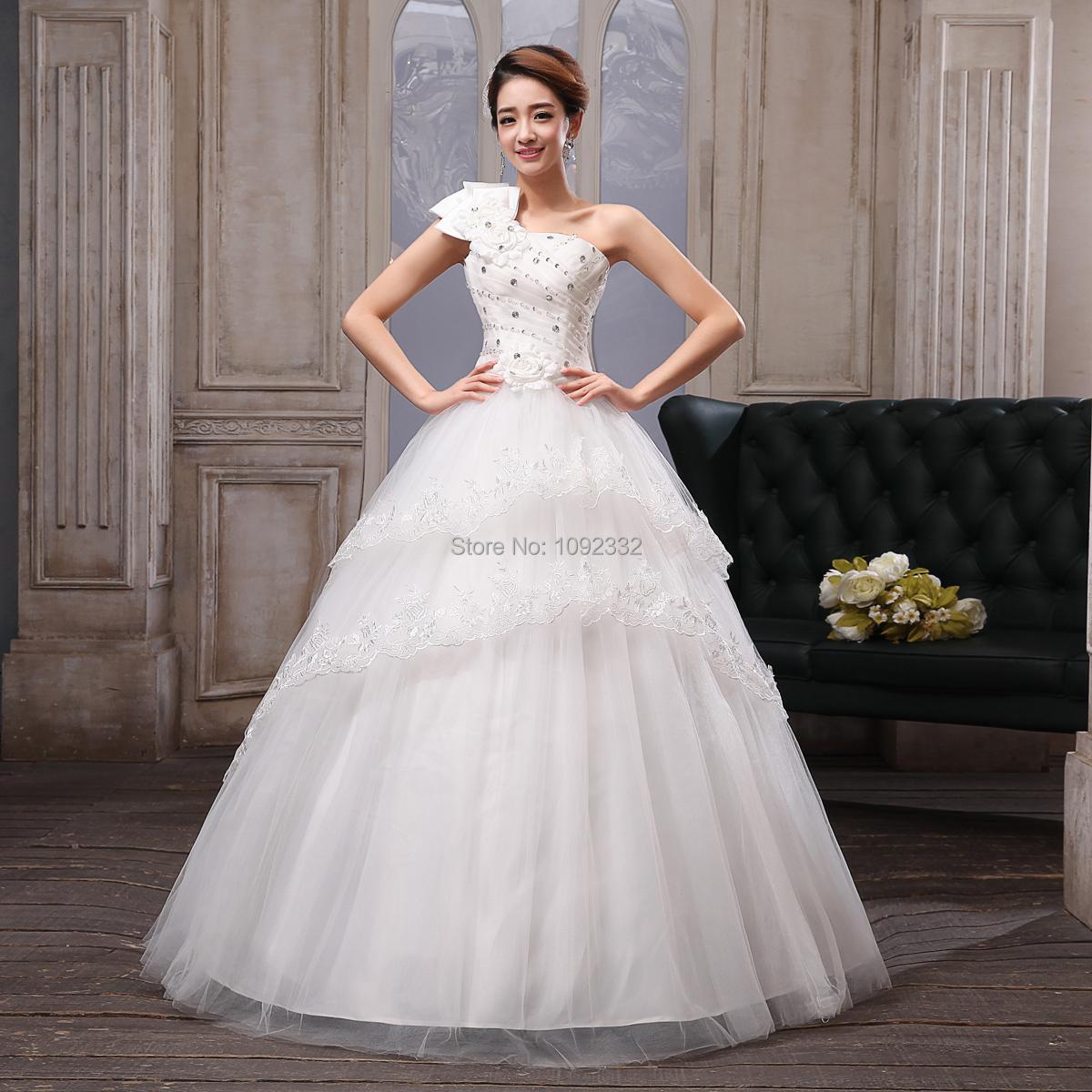S 2015 new plus size pregnant women noble princess wedding for Plus size one shoulder wedding dress