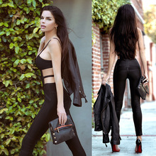 Bandage Jumpsuit 2016 Free Shipping! Kylie Jenner Fashion Brand Sexy HL Bandage Jumpsuit Women Bodysuit full length foot pants