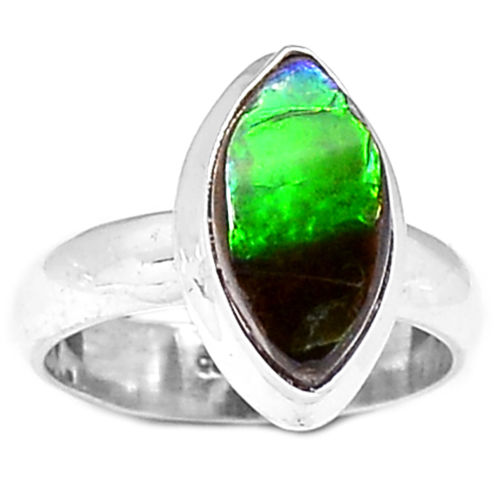 Hand Made Ammolite Ring 100% 925 Sterling Silver, Size:6.75, KR0059(China (Mainland))