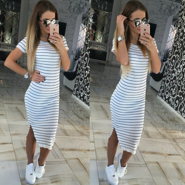 New Arrival 2016 Short Sleeve summer early autumn dress Straight O-Neck Natural Waist Striped 3 Colors Casual Dress
