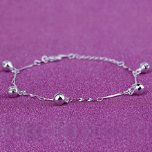 Free shipping silver bracelet female models sweet of bells bracelet Korean version of the simple five bell anklets jewelry S453(China (Mainland))