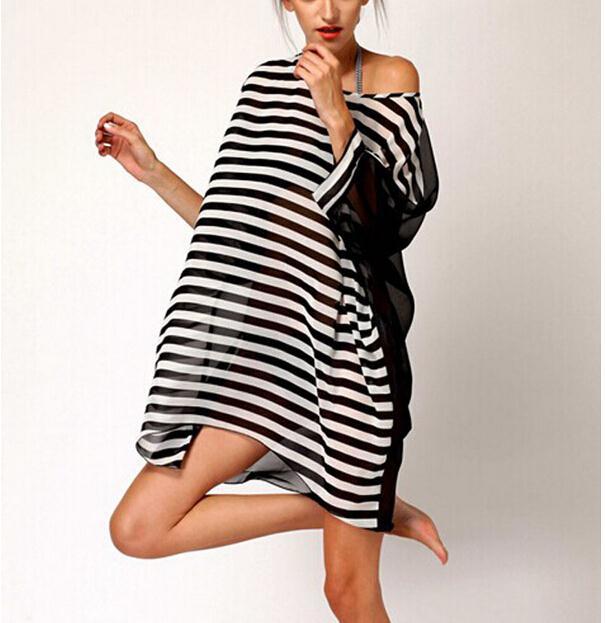 Good deal Sexy Womens Beach Cover Up Stripes Oversized Beach Swimsuit Cover-up Beach Wear Swimwear Dress