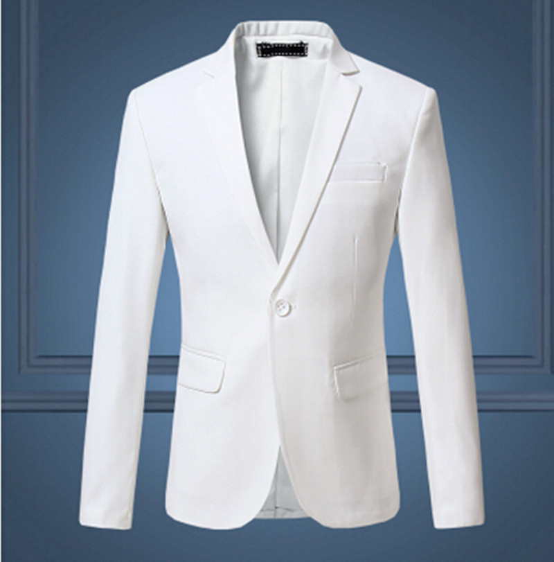 2016 New Arrival Spring White Formal Dress Blazers Men Solid Slim Fit Mens Blazer Jacket Casual Social Business Suit Jacket(China (Mainland))