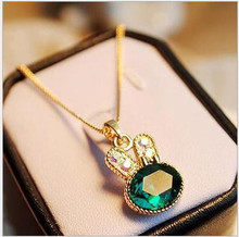 5PCS jewelry  Emerald Necklace rabbit sweater chain with chain crystal Pendants 0020(China (Mainland))