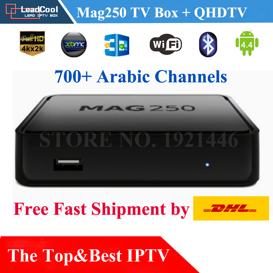 Mag250 TV Box with QHDTV IPTV 700 HD Arabic Channels Bein Sky Sports MBC French Canal+ Cine+ Arte Free Fast DHL shipping<br><br>Aliexpress
