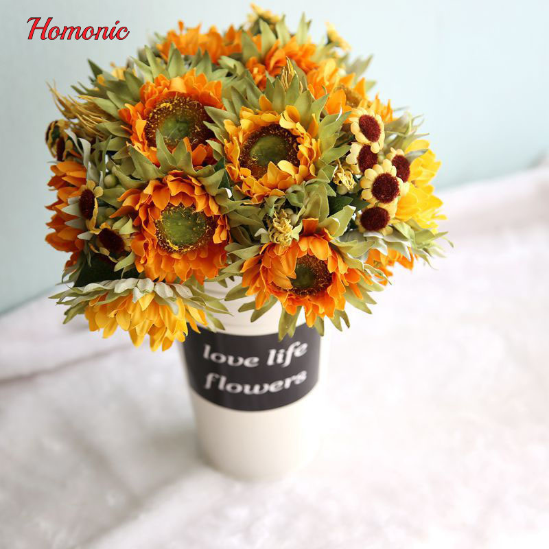 Yellow bouquet Silk Sunflower artificial flowers decorative sunflower 5 heads table arrangement home decoration accessories P90(China (Mainland))