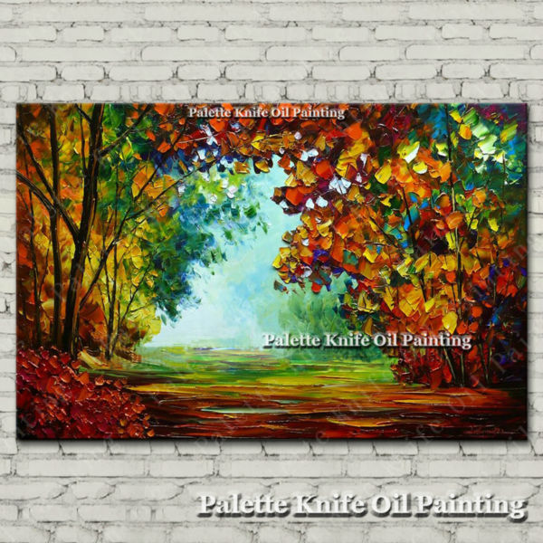 Hand painted Canvas Oil painting Wall Pictures for Living room wall decor art canvas painting palette knife landscape 02(China (Mainland))