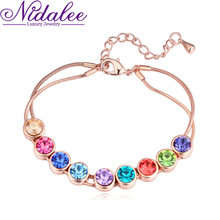 luxury jewelry geometric Bracelet 18K Gold Plated Top Crystal zircon bracelets for women High quality Accessories (NIdaleeCB441)(China (Mainland))