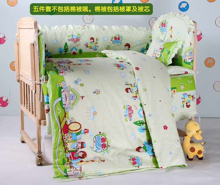 Promotion! 7PCS baby quilt 100% Cotton Embroidery baby bedding set (bumpers+matress+pillow+duvet)<br><br>Aliexpress