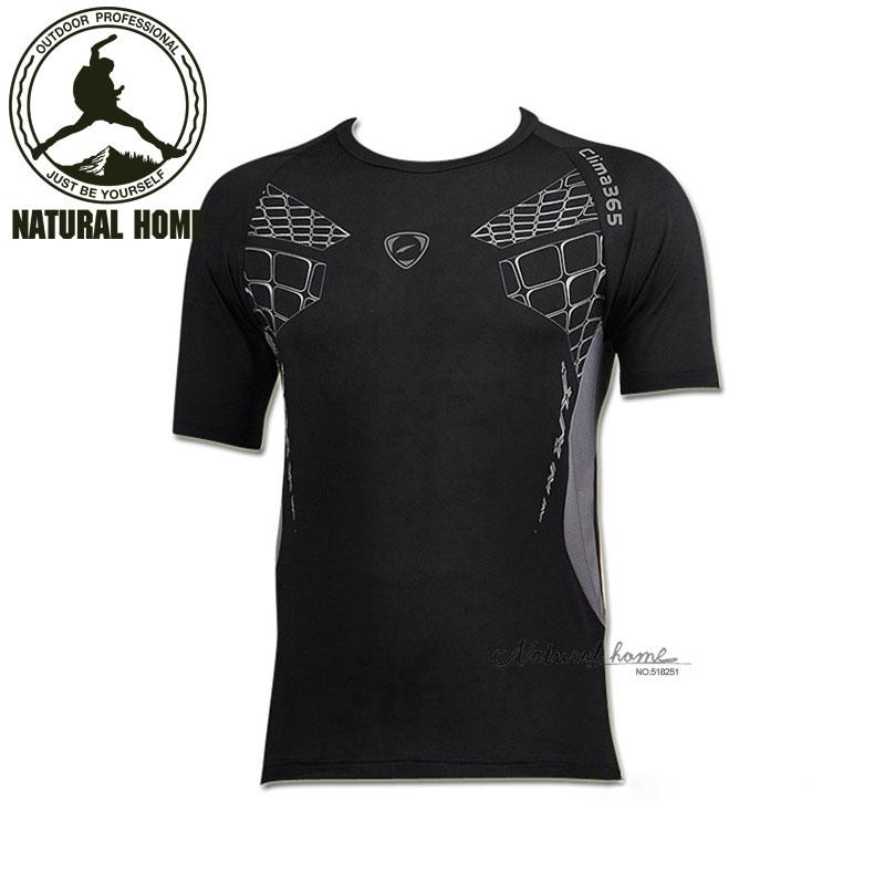 [NaturalHome] Brand men running t-shirt homme fitness camping climbing outdoors hiking t-shirt camisa masculina hunting clothes(China (Mainland))