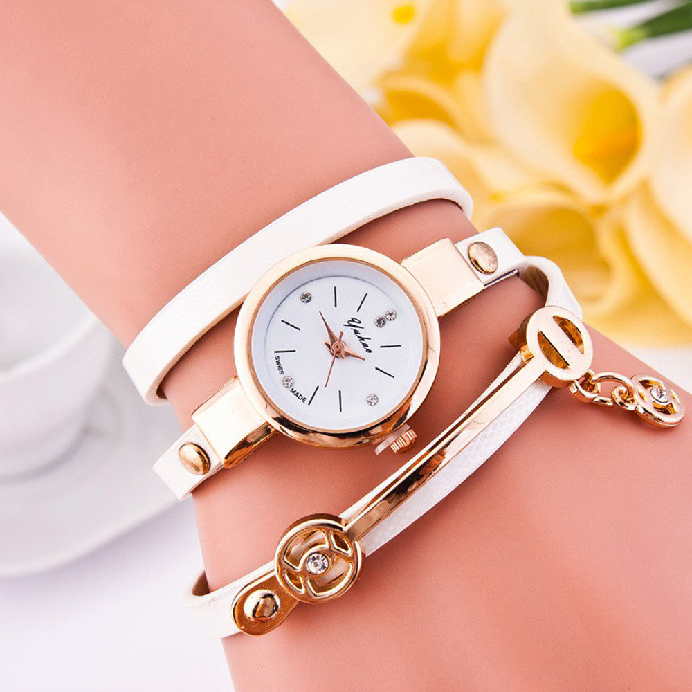 Feitong 2017 Fashion Casual Dress Watch For Women's Ladies Bracelet Watches PU Leather Rhinestone Quartz WristWatch For Women