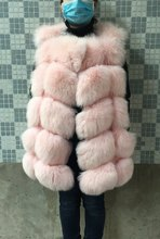 hot new 2015 natural fox fur long vest with all real photos 19 color in stock(China (Mainland))