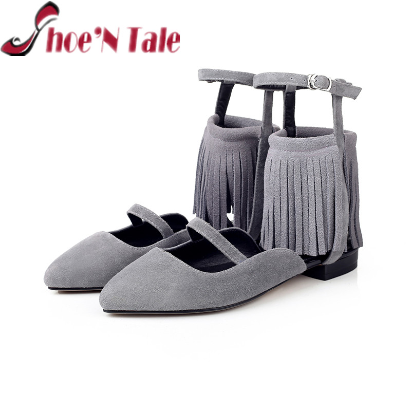 ShoeN Tale 2016 fashion Fringe Sexy Women shoes Party ladies shoes Flat Gladiator Sandal women<br>