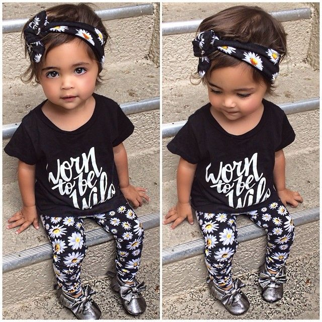 2016 Baby Girl Summer Style Wear T-shirt +Pants Floral Print Cloth Set Girls Clothes Fashion Clothing Kids Costume Free Headwear(China (Mainland))