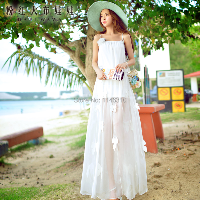 Summer  pink doll 2015 new summer  skirt with white butterfly Chiffon SkirtОдежда и ак�е��уары<br><br><br>Aliexpress