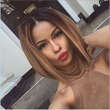 Two colour 2016 Two Tones Ombre Wig Medium Long Straight Synthetic Hair Wig for Black Women Perruque Peruk Afircan American Wigs(China (Mainland))