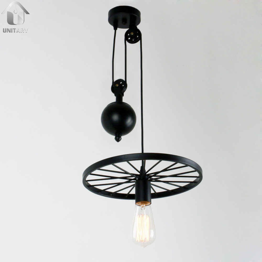 UNITARY BRAND Large Black Vintage Two Metal Wheels Hanging Pulley Pendant With 1 Lights Painted Finish(China (Mainland))