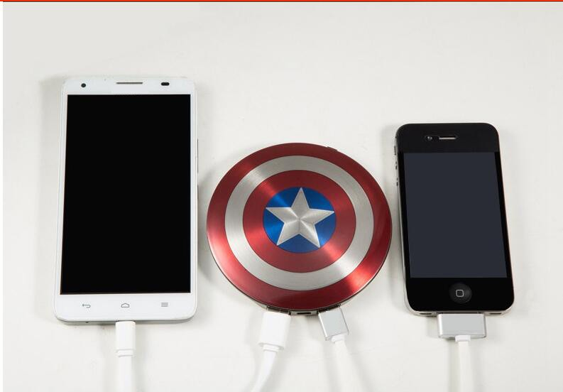 High Quality external Battery Captain America Shield 6800mAh USB power bank charger for iPhone Huawei Xiaomi LG all Phone