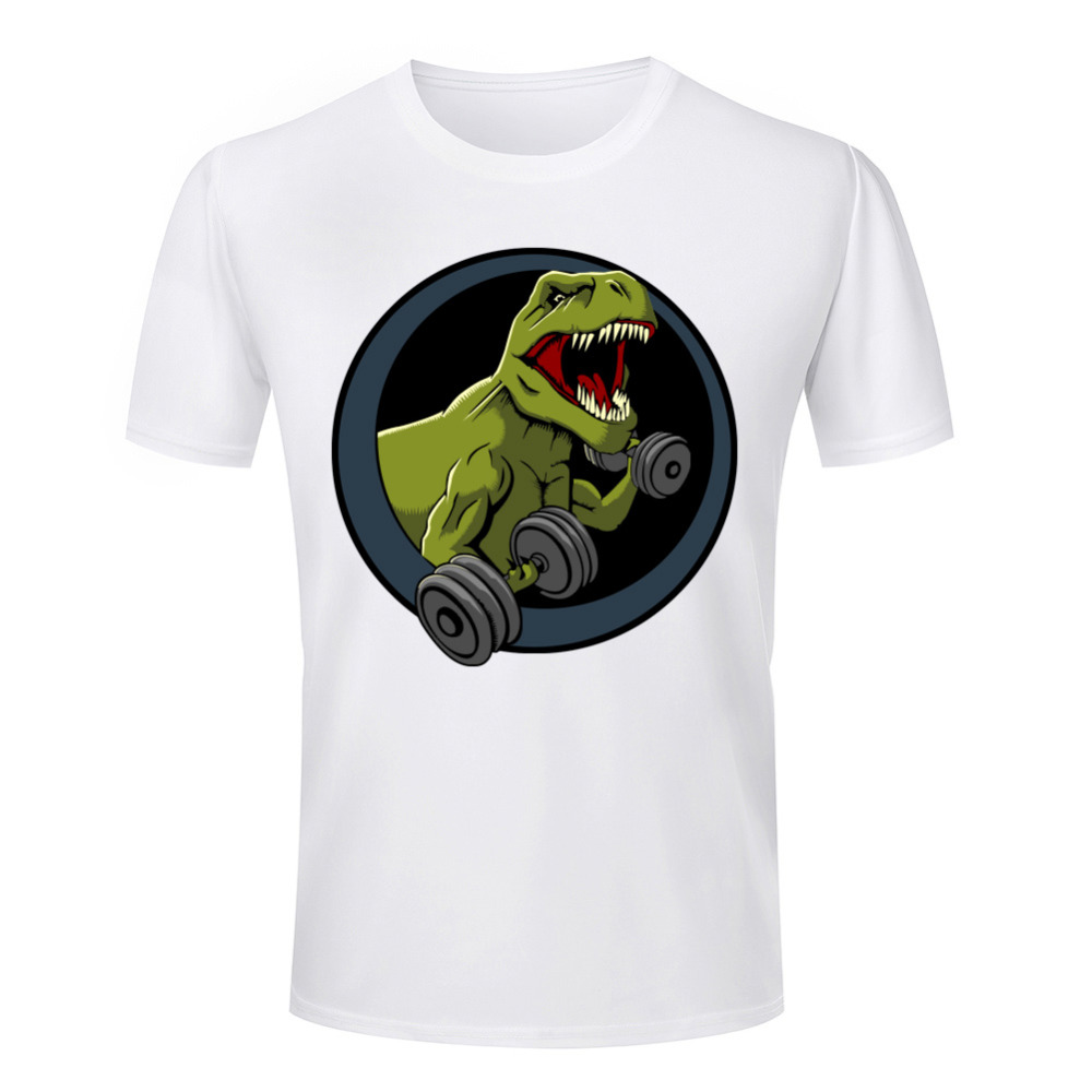 Hot Sales 3D T Shirts Euro Size Gym Dinosaur Printed O Neck Short Sleeve Men T-shirt Fashion Top Tees Novelty Casual Clothes - Hollise store