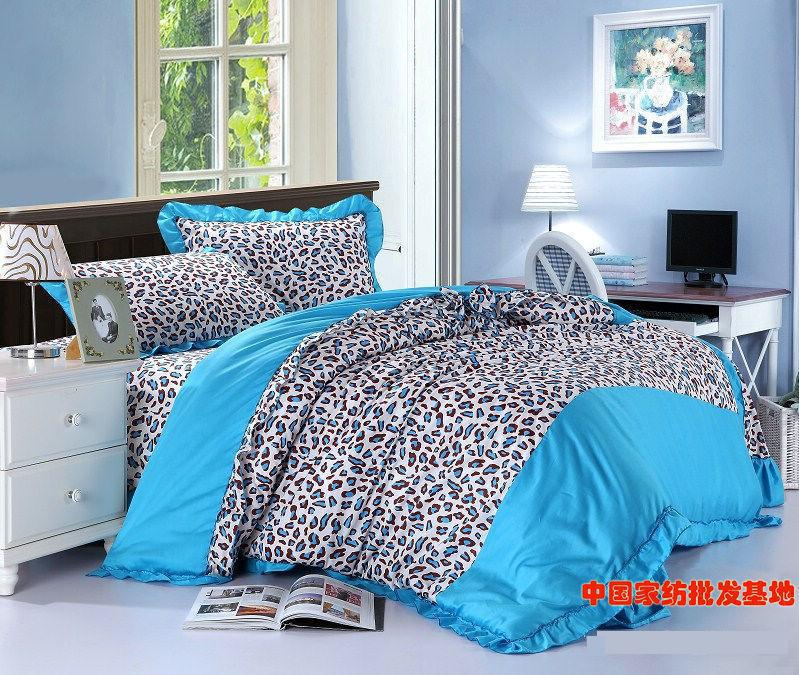 Blue leopard print korean bowknot bow ruffle turquoise comforter bedding set queen comforters sets quilt duvet cover bed sheet(China (Mainland))