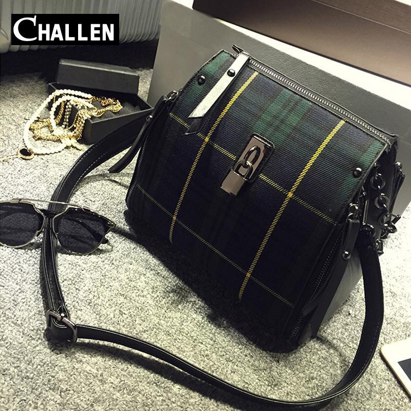 famous brand cheap handbags shoulder women bags luxury designers plaid printed messenger bag female high quality leather bag sac(China (Mainland))
