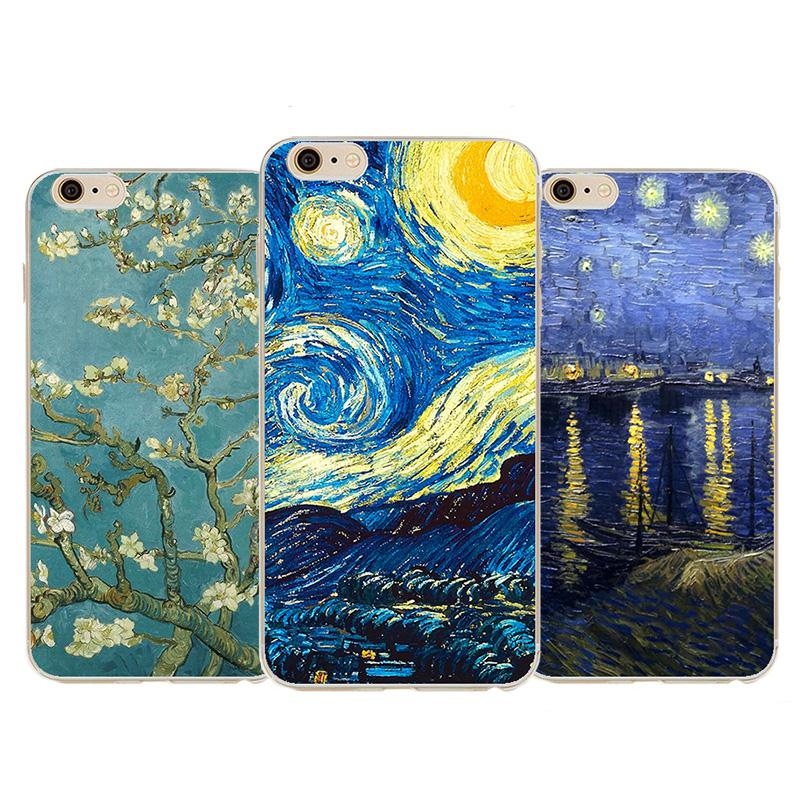 2016 Top Quality Vincent Van Gogh Starry Sky Oil Painting For Iphone 6 6s 4.7 Back Design Vintage Art Painted Pattern Phone Case(China (Mainland))