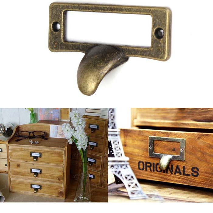 Гаджет  55mm Vintage Label File Name Card Holder Cavity Type cabinet pulls handle bronze Drawer Pull label holders Label Frames None Мебель