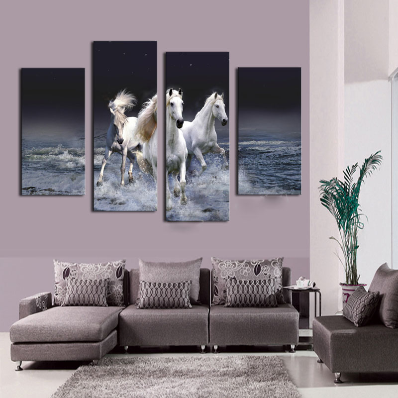 Home Decor Abstract Canvas Painting Sea & Horse seascape Decorative Pictures Modern Paintings 4 Panel Wall Art No Frame YY020(China (Mainland))
