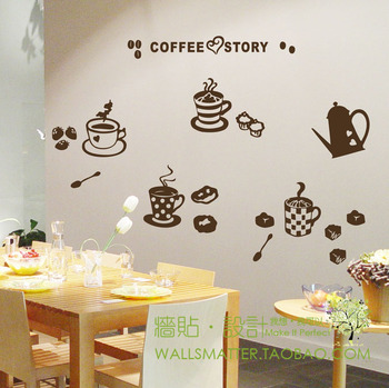 Coffee Story Pattern Tile stickers sooktops glass stickers kitchen cabinet decoration wall stickers Free Shipping