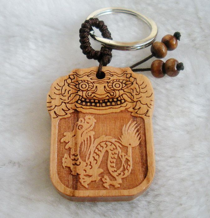 Cherry wood zodiac keychain amulet peace symbol accessories 2000400(China (Mainland))
