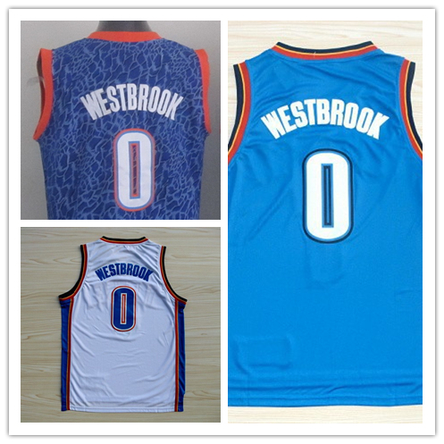 Best Quality 100% NWT OKC #0 Russell Westbrook Jersey Blue White Stitched Polyester American Basketball Jersey New Style Online(China (Mainland))