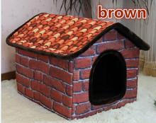 Large Dog Kennel 2016 New Vintage Brick Steeple Room Pet Nest Satsuma Husky Dog House 3 color S/M/L(China (Mainland))
