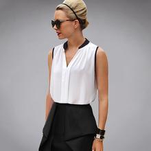 Short Casual Chiffon Shirt Sleeveless Feminine Blouses White Patchwork Stand Collar Women Tops And Summer Blouses For Women B200