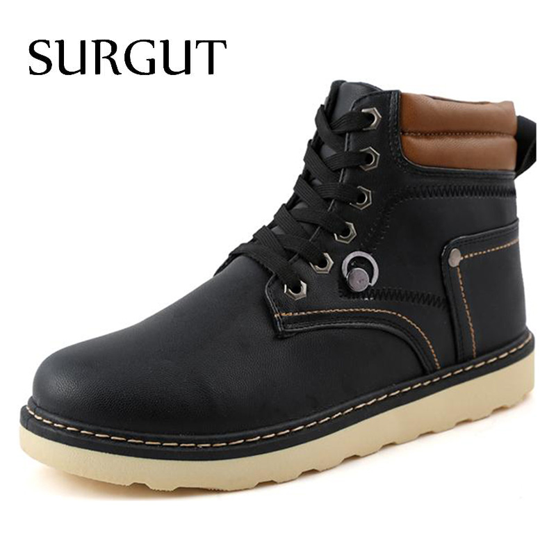 New High Quality Autumn Fashion Men Leather Boots Mens Shoes Round Toe Lace-Up Black Men Shoes Male Work Footwear(China (Mainland))