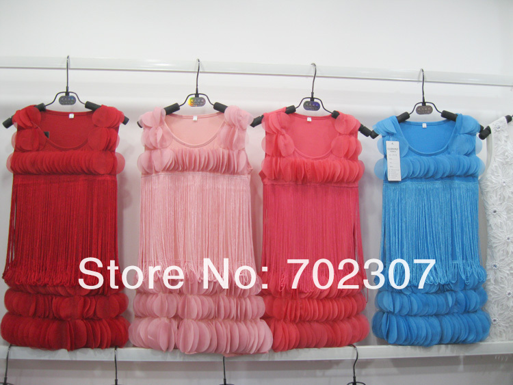 wholesale  girl Tassel pink lace Dress , summer  clothing free shipping   4pcs/lot  0786<br><br>Aliexpress