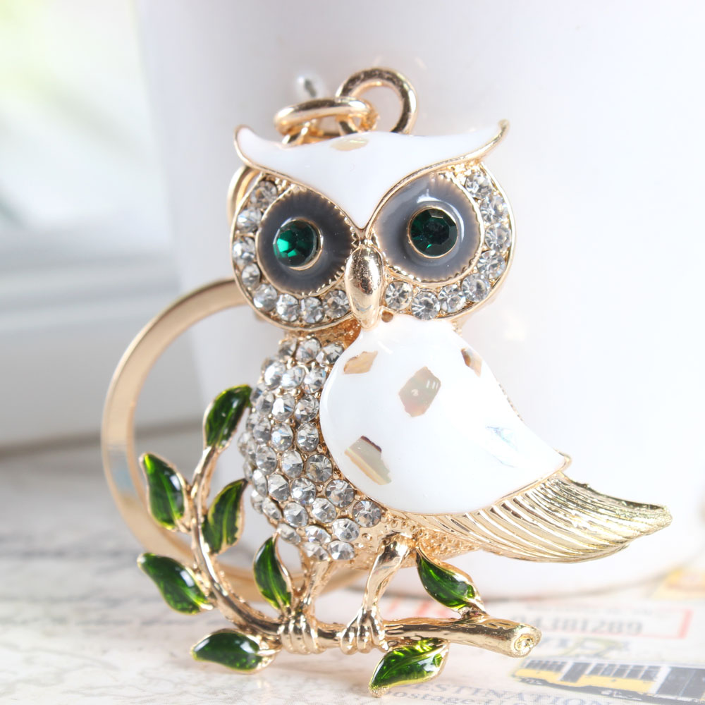 Гаджет  Cute Owl Branch White Crystal Charm Purse Handbag Car Key Keyring Keychain Party Wedding Birthday Gift None Ювелирные изделия и часы