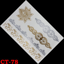 Lotus henna Temporary tattoo gold tattoo color sex products tatoo metal women flash metalic gold silver tattoos