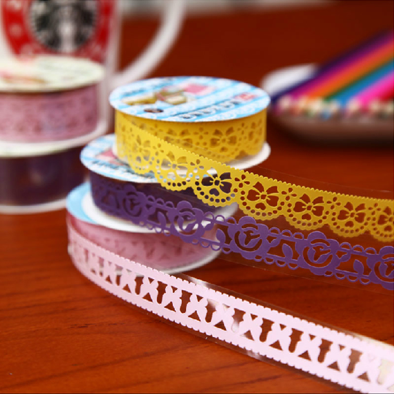 1Set/10pcs Lace Adhesive tape Masking tape Decorative stickers Stationery for scrapbooking DIYfoto photo album School(China (Mainland))