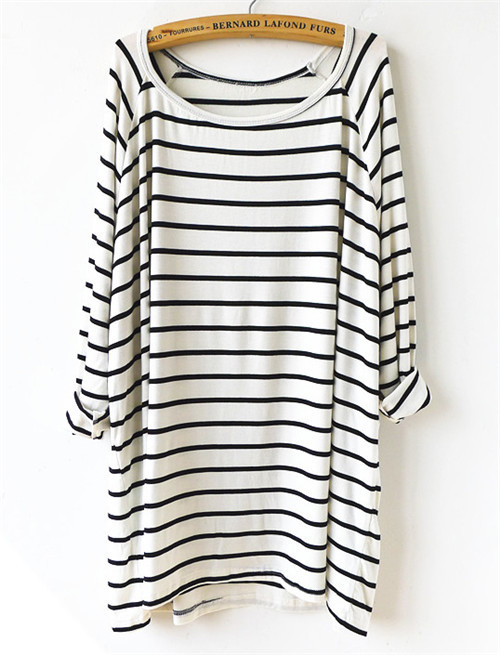 2015 New Summer Hot Top Women's Fashion Clothing Striped Tees Casual White Black Long Sleeve Round Neck Straight Loose T-Shirt(China (Mainland))