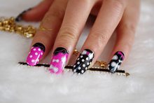 Y5213 Manicure Beauty Nail Wraps Foil Sticker Adhesive Nail Art Stickers Kawaii Serie Pink Black Polka Dot Design Nail Decal