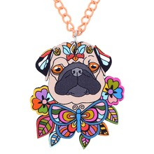 Buy Bonsny Acrylic French Bull Pug DOG Necklace Cartoon Pendant Chain Collar Choker Pendant Animal Fashion Jewelry Women Girl New for $3.98 in AliExpress store